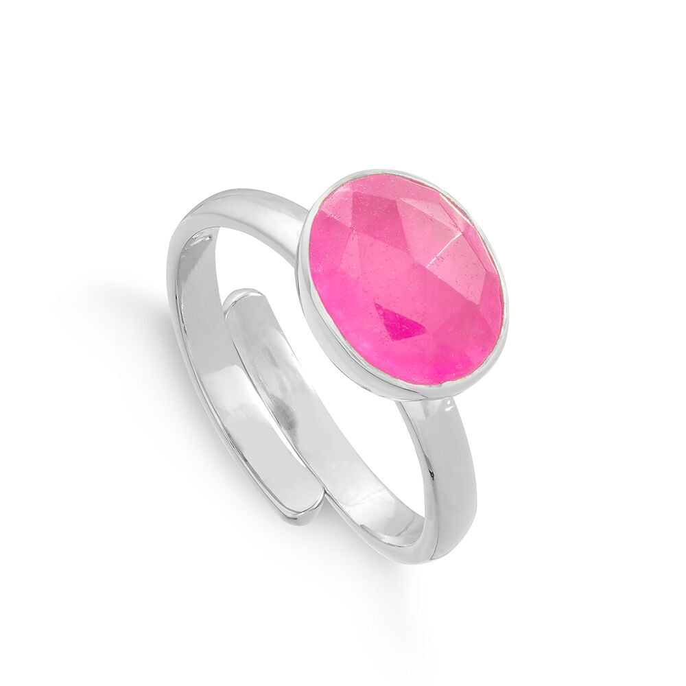 SVP Jewellery Silver and Pale Ruby Quartz Midi Atomic Ring