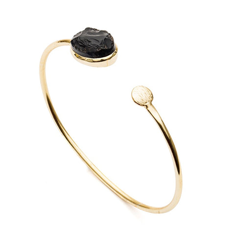 Azuni Athena Open Bangle - Black Onyx