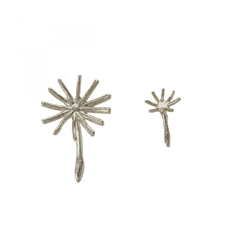 Alex Monroe Silver Asymmetric Dandelion Fluff Stud Earrings