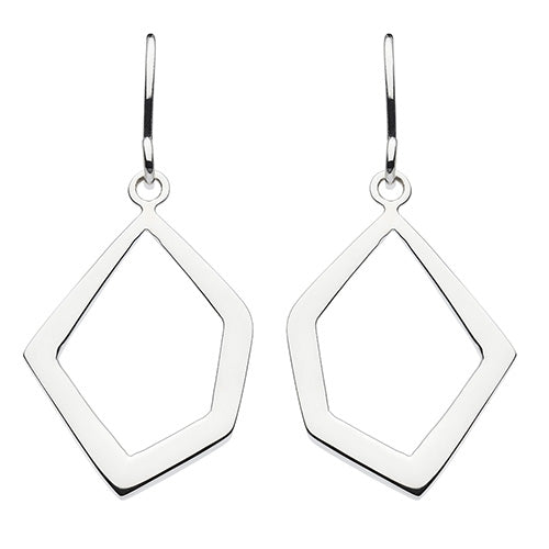 Sterling Silver - Irregular Geometric Drop Earrings - Silver Earrings - Silverado