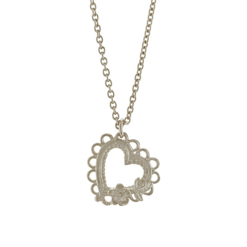Alex Monroe Silver Lace-Edged Heart and Flower Necklace