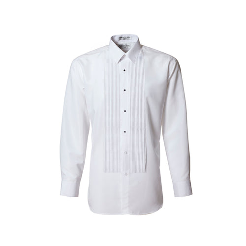 Men's White 1/4 Pleated Laydown Collar