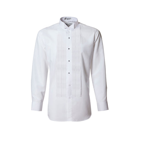 Men's White 1/4 Pleated Wing Collar