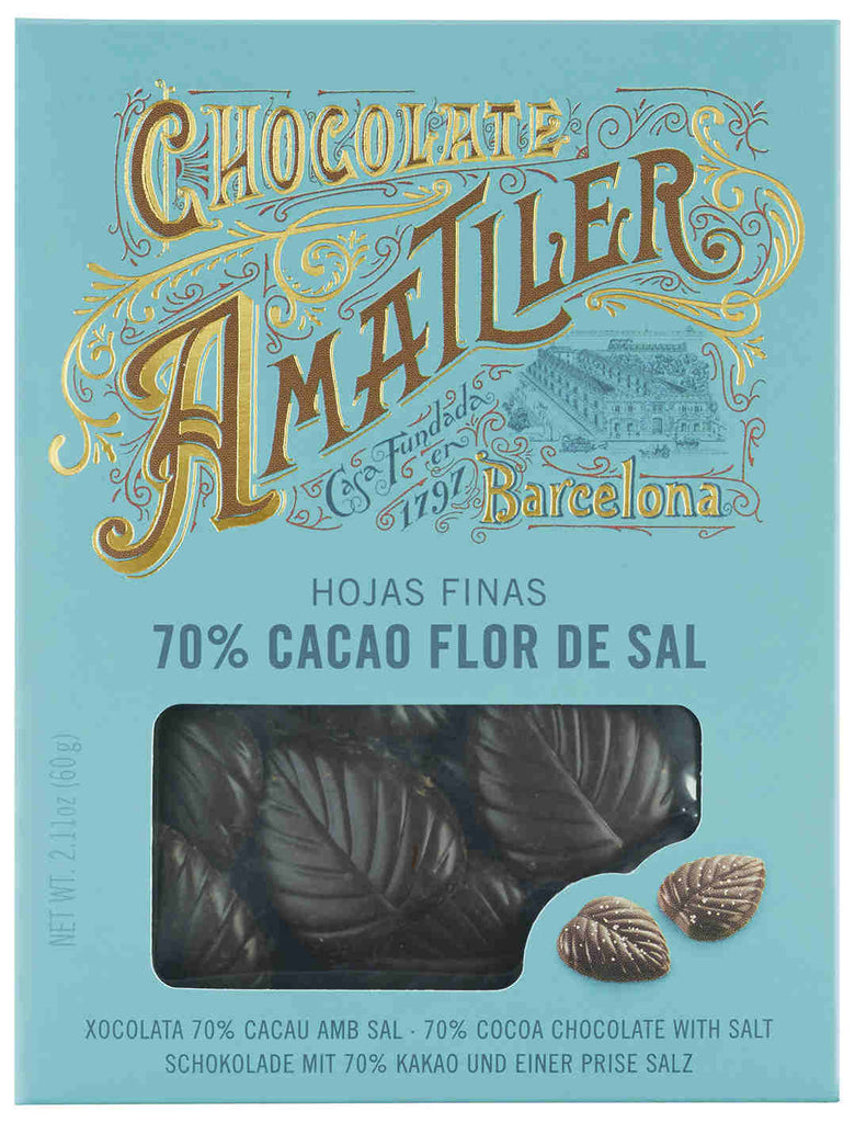 AMATLLER DARK CHOCOLATE LEAVES WITH SEA SALT