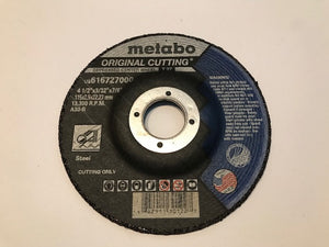 "METABO 4 1/2"" X 3/32 X 7/8"" A30R T27 STEEL GRINDING WHEEL (616727000) 25/BOX"