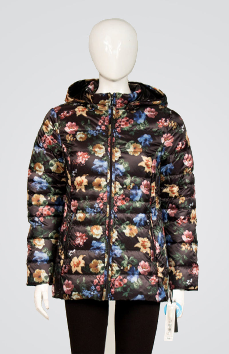 Printed Down Coat with Detachable Hood and Carrying Pouch Now 30% Off