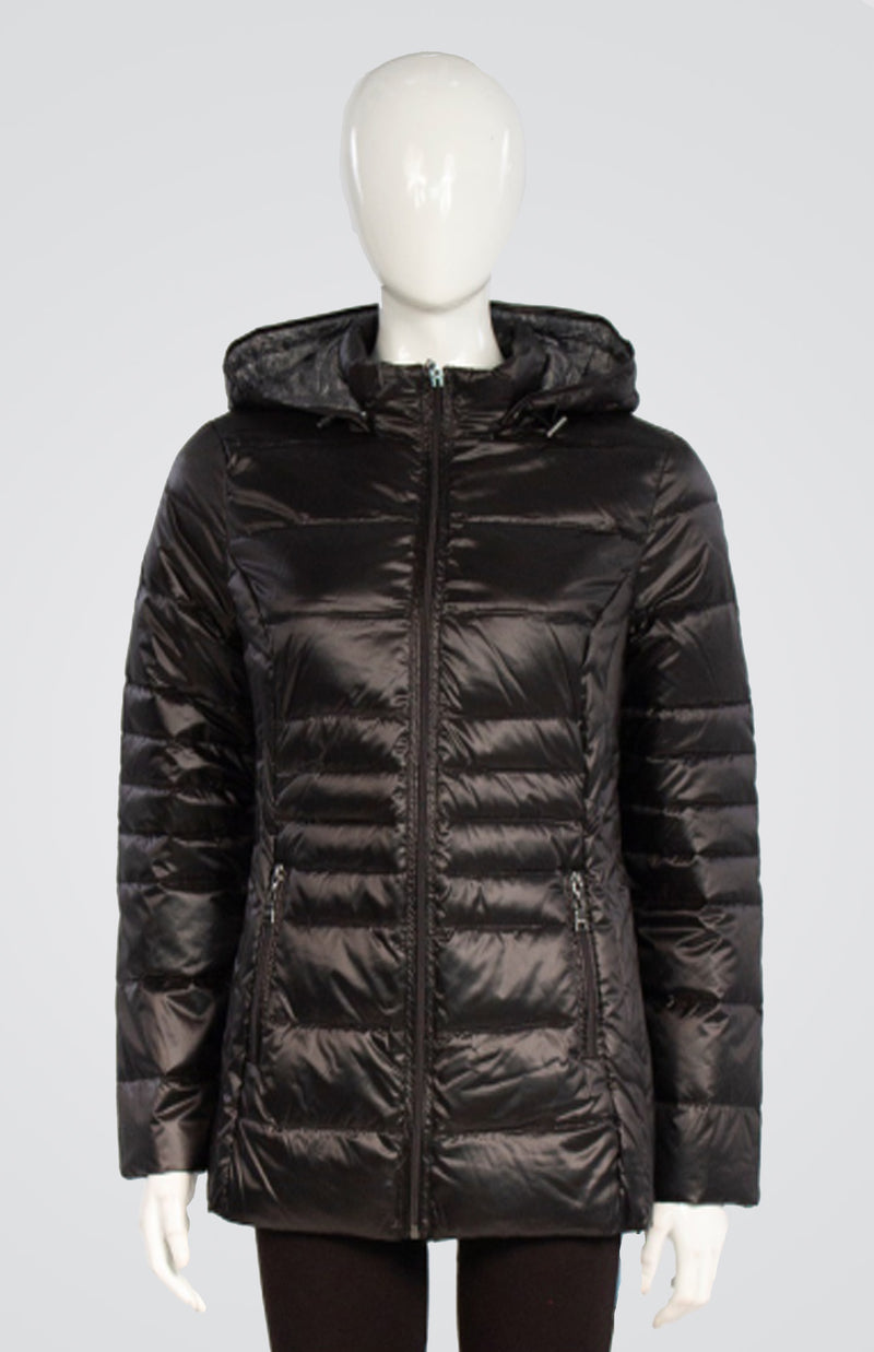 Down Coat with Detachable Hood and Carrying Pouch Now 30% Off
