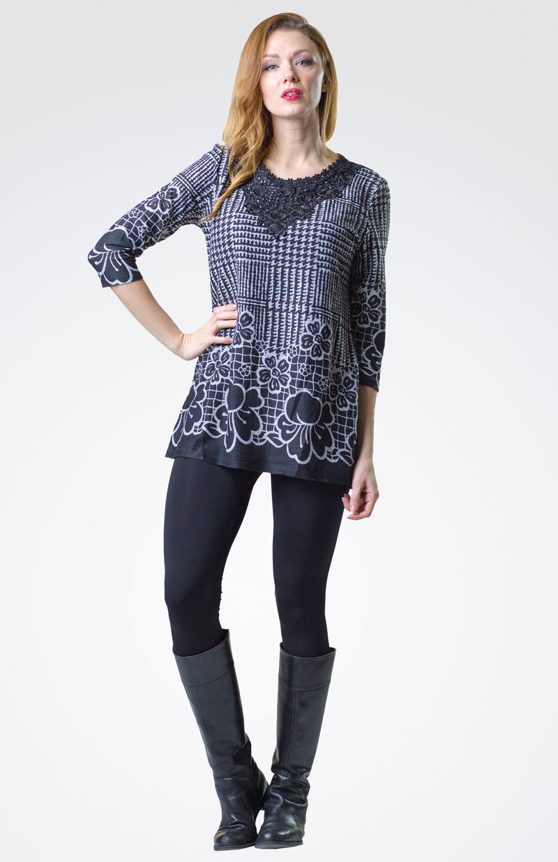 Lace Detailed  Printed Tunic Now 20% Off