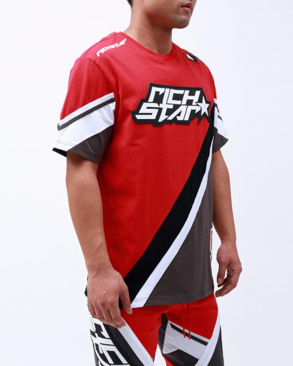 RS SPORTS SS MOTO SHIRT-COLOR: RED