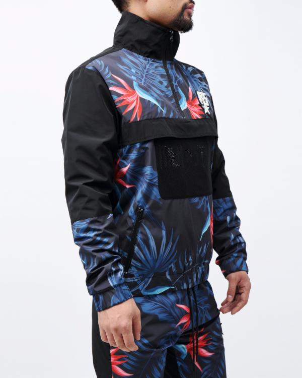 TROPICAL PULLOVER JACKET-COLOR: BLACK
