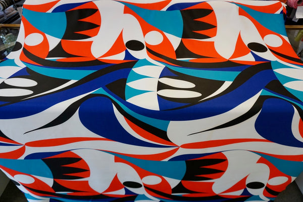 Pop Art Print on Fleece Backed Stretch Scuba