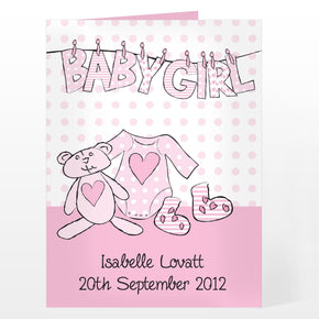 Personalised Baby Girl Letter Washing Line Card