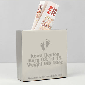 Personalised Footprint Square Money Box