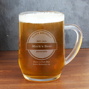 Personalised Established Beer Label Tankard
