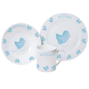 Personalised Blue Chick Breakfast Set