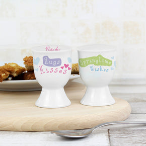 Personalised Hugs Kisses Springtime Wishes Egg Cup