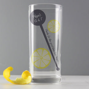 Personalised Lemon & Stirrer Hi Ball Glass