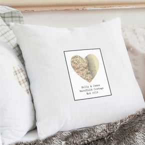 Personalised 1896 - 1904 Revised New Map Heart Cushion Cover