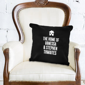 Personalised Home Motif Black Cushion Cover