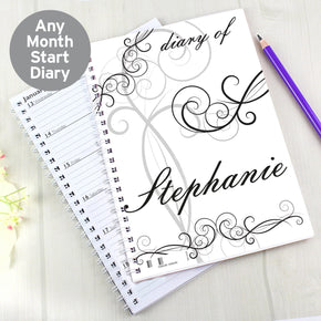 Personalised Black Swirl A5 Diary