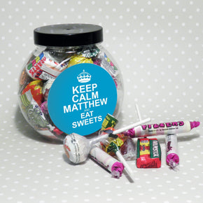 Personalised Keep Calm Round Blue Sweet Jar