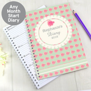 Personalised Vintage Rose A5 Diary