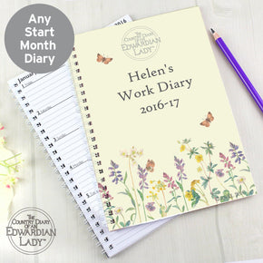 Personalised Country Diary Wild Flowers A5 Diary