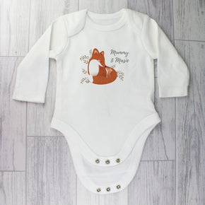 Personalised Mummy and Me Fox 6-9 Months Long Sleeved Baby Vest
