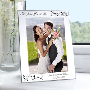 Personalised Silver 5x7 Black Swirl Photo Frame