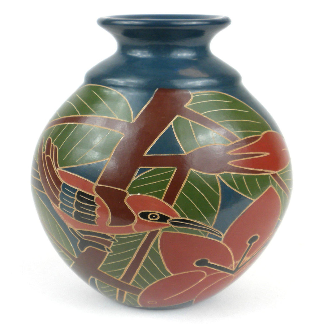 8 inch Tall Vase - Red Bird Handmade and Fair Trade