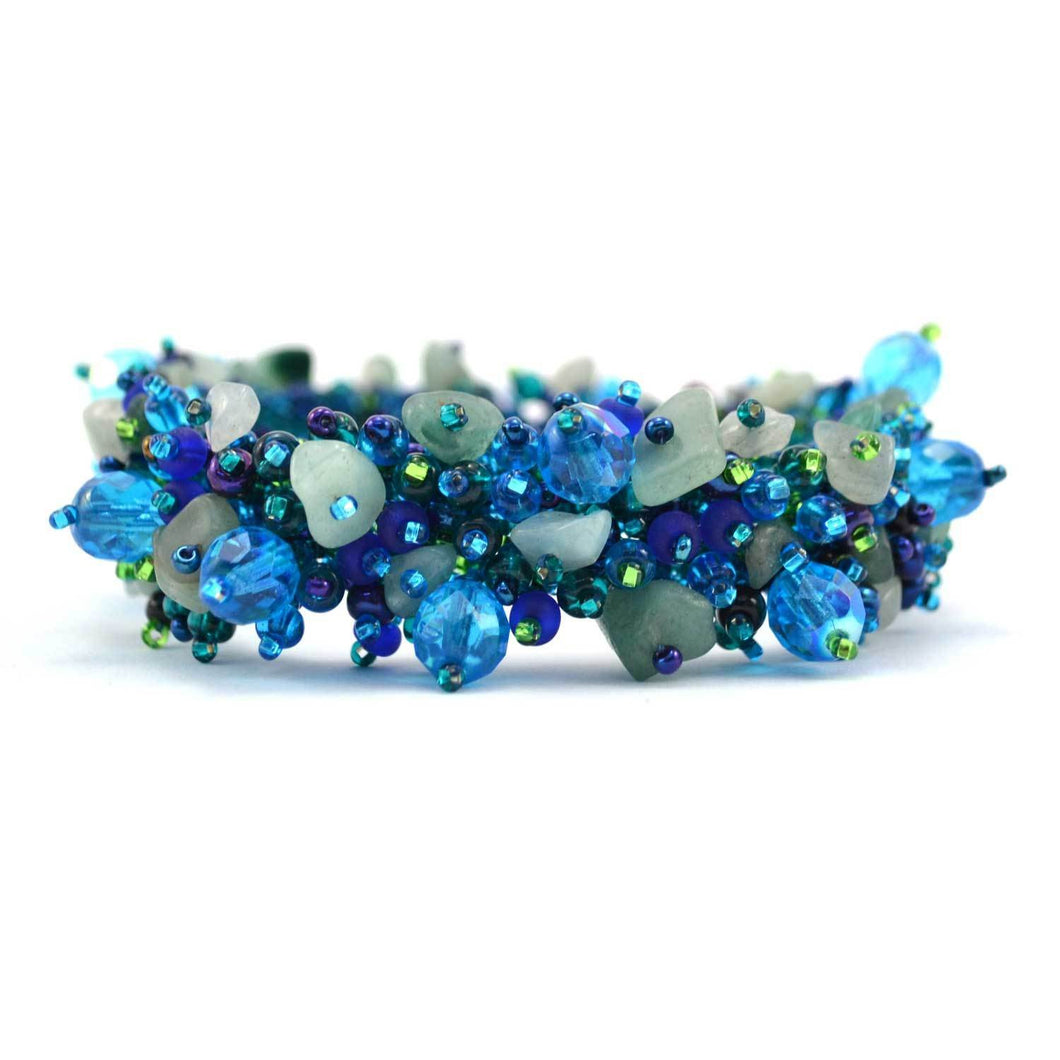 Global Crafts - Magnetic Stone Caterpillar Bracelet Blue - Lucias Imports (J)