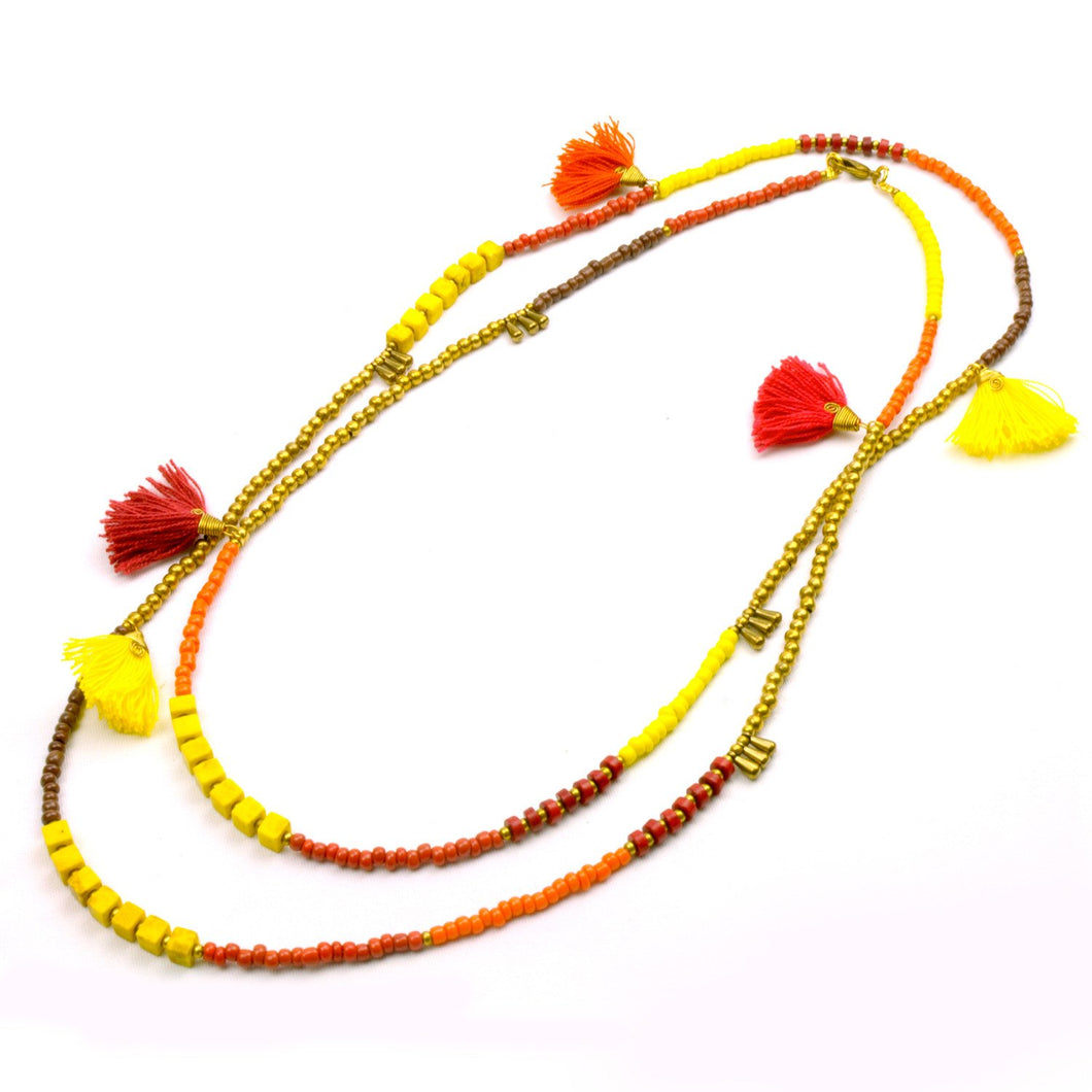 Global Crafts - Kerala 3-in-1 Necklace Fire - Global Groove (J)