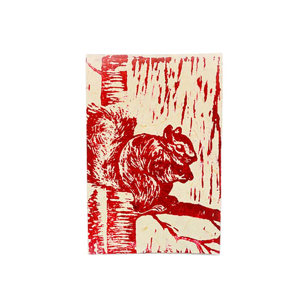 Global Crafts - Block Print Greeting Card - Squirrel - Imani Workshop (S)