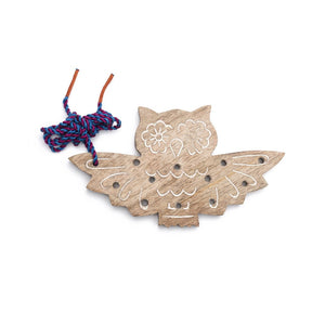Global Crafts - Wood Owl Lacing Toy - Matr Boomie