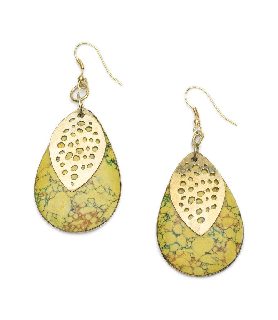 Global Crafts - Tara Stone Medallion Earrings - Yellow - Matr Boomie (Jewelry)