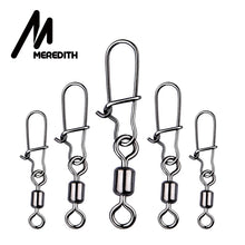 Load image into Gallery viewer, MEREDITH 50pcs/lot Fishing Connector Pin Bearing Rolling Swivel Stainless Steel with Snap Fishhook Lure Swivels Tackle