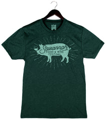 Savannah Food & Wine 2018 - Pig - Unisex/Men's Triblend Crew - Emerald