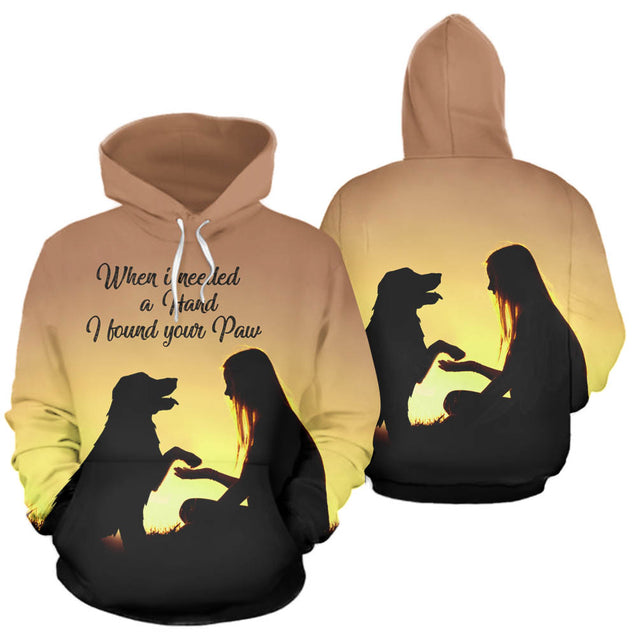 ln 1 golden retriever found your paw 3d hoodie