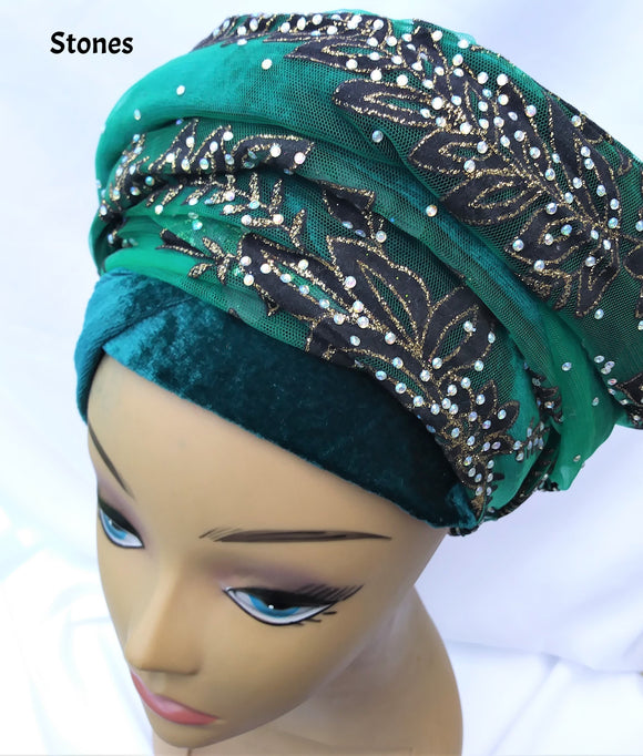 Turban Head Wrap with Sequins/Stone