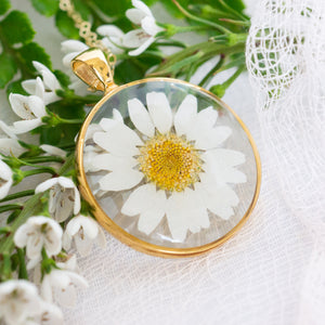 Circle Pressed Daisy Essential Blooms Necklace