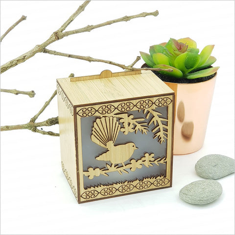 LED Tealight Box - Fantail on Manuka