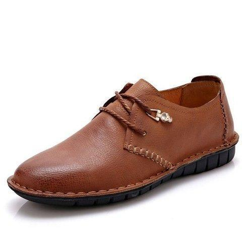 Men Retro Hand Stitching Business Leather Shoes Lace Up Casual Loafers
