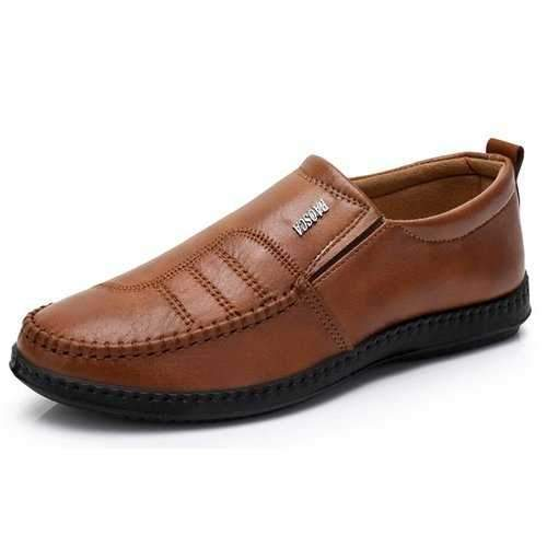 Men Microfiber Fabric Flat Slip On Casual Shoes