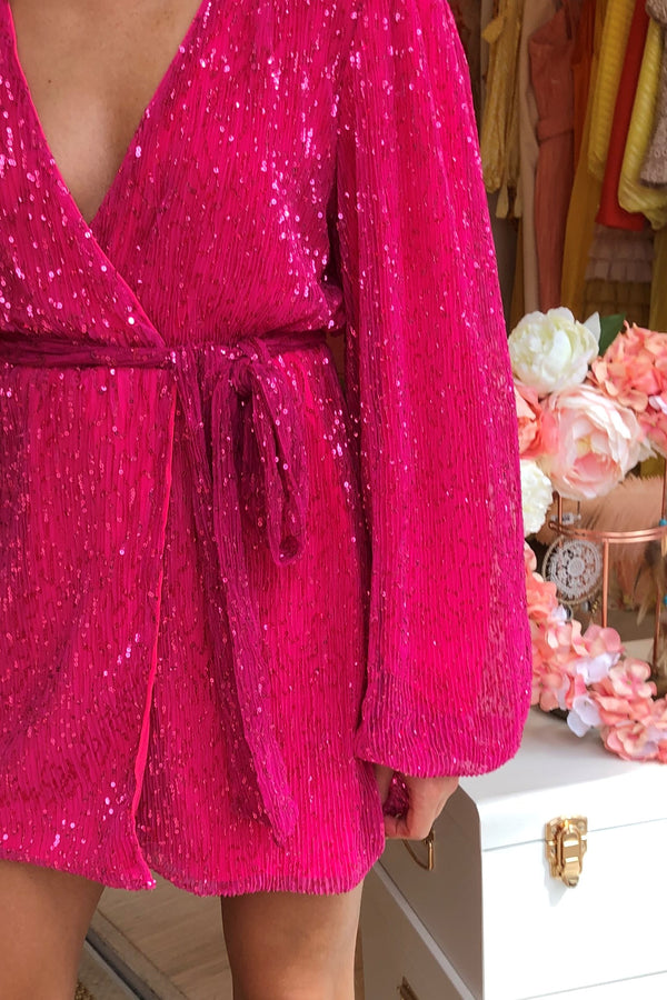 FUSCHIA SEQUIN DRESS