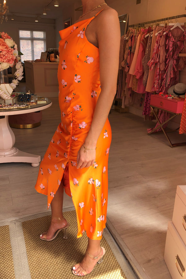 BURNT ORANGE FLORAL MIDI DRESS