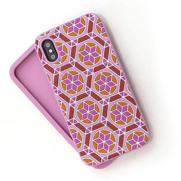 Kaleidoscopic Multi-Faceted Case (iPhone X) Light Pink/Orange Cone