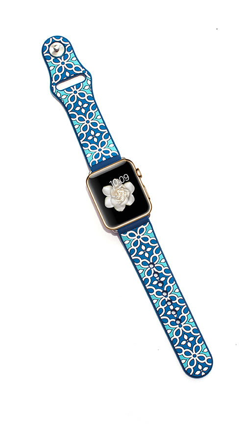 Kaleidoscopic Multi-Faceted Apple Watch Band- Power Aqua/Deep Blue