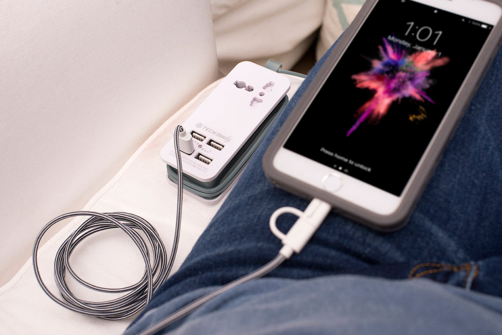 Power Trip Outlet + USB Port Travel Charging Station in use