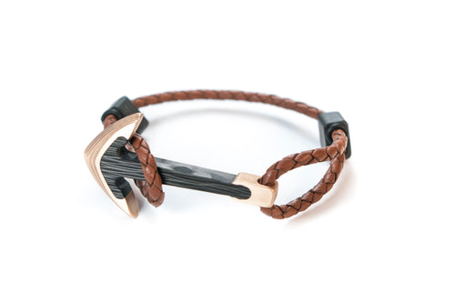 Bronze / Carbon fiber anchor bracelet (brown leather cord)