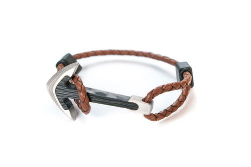 Titanium / Carbon fiber anchor bracelet (brown leather cord)